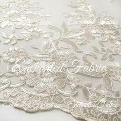 Ivory Embroidered Double Scalloped Wedding Lace by EnchantedFabric  https://www.etsy.com/your/shops/EnchantedFabric