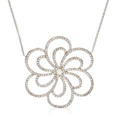 White Gold Floral Pendant Necklace With Diamonds