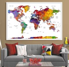 An absolutely stunning push pin map of the world for those dreaming about traveling :)