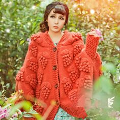 Orange coat autumn wool bat jacket winter thick bat от Sexy8baby