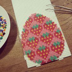 Strawberry Easter egg hama beads by beautypolish