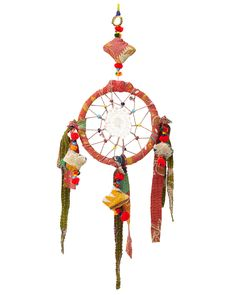 """Recycled Dreamcatcher Sari ~ GORGEOUS! ~ """"Originating from the Native American Ojibwe tribe, hoops woven with spider-like netting, bead charms, and precious feathers were used to protect sleeping children from bad dreams. Bring good vibes to your afternoon naps or boho style to your little one's bedroom with this vibrant dreamcatcher. Crafted with colorful vintage saris and complementing beads, each dreamcatcher is one-of-a-kind. Handmade in India."""""""