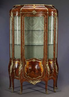 antique vitrines | Antique French Vernis Martin Bombe Vitrine