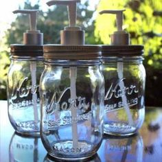 Just love the way these look.so much cuter than your typical soap dispenser! You can even buy the mason jars with the hole already in the lid for a straw. Must keep all lotion pumps in future! Mason Jar Soap Dispenser, Soap Dispensers, Mason Jar Seifenspender, Kerr Jars, Liquid Soap, Canning Jars, Bottles And Jars, Crafty Craft, Jar Crafts