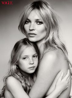 Kate Moss and Lila Grace by Mario Testino for Vogue