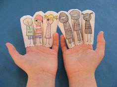 finger puppets. It would be a cute idea to glue little home made eyes clothes etc on