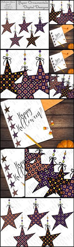 Halloween Clip Art In Bright Colors, Halloween Colors Geometric Pattern Primitive Star Digital Graphics For Halloween Classroom Decor In Black, Orange, Purple, & Green Colors for Scrapbooking, Cards, Printables, Background. This clip art set of 5 hanging Halloween prim stars, in a digital format featuring original patterns, will save you time and money through multiple uses that will lend a festive foundation to any creative project such as scrap... Bright Colors, Green Colors, Primitive Stars, Halloween Clipart, Halloween Coloring, Geometric Patterns, Classroom Decor, Collage Art, Festive