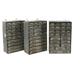 Vintage Metal Multi-drawer Cabinets | See more antique and modern Cabinets at http://www.1stdibs.com/furniture/storage-case-pieces/cabinets