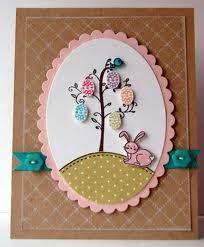 "easter card-like the ""egg"" tree idea Diy Easter Cards, Easter Crafts, Cool Cards, Diy Cards, Easter Religious, Halloween Cards, Creative Cards, Scrapbook Cards, Homemade Cards"