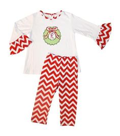 PERSONALIZED GIRL'S RED Chevron Pants Outfit by ChildrensCottage, $58.00