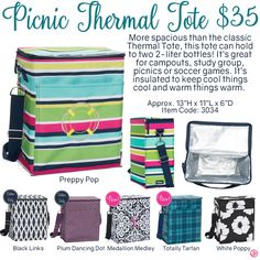Picnic Thermal Tote by Thirty-One. Fall/Winter 2016. Click to order. Join my VIP Facebook Page at https://www.facebook.com/groups/1603655576518592/