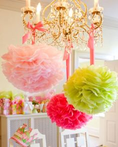 pink and green pom poms