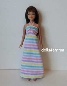 Vintage Skipper Doll Clothes Handmade Fashion pastels Maxi Dress NO DOLL d4e