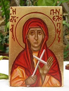 Made to order- Saint Penelope religious hand painted mini icon eggtempera on wood