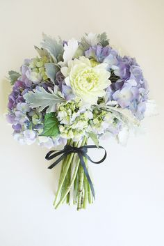 hand tied bouquet w/ hydrangeas & dahlias