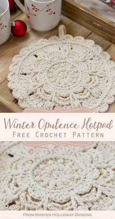 Crochet an beautiful round hotpad with this free pattern to set your holiday dishes on this year. It's thick, lacy and perfect for Christmas gift giving. Crochet Hot Pads, Crochet Diy, Crochet Home Decor, Crochet Round, Crochet Hooks, Crochet Towel, Thread Crochet, Double Crochet, Single Crochet
