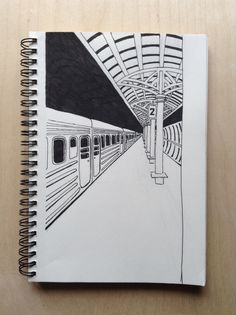 railway_station - New Pin Doodle Art Drawing, Cool Art Drawings, Pencil Art Drawings, Art Drawings Sketches, Drawing Ideas, Perspective Drawing Lessons, Perspective Sketch, Point Perspective, Architecture Drawing Sketchbooks
