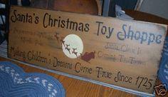 Primitive Christmas Sign Santa's Toy Shoppe Dreams   eBay