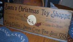 Primitive Christmas Sign Santa's Toy Shoppe Dreams | eBay