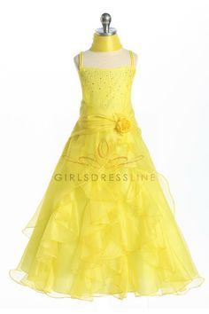 Yellow Jeweled Bodice Ruffle Layered Organza Flower Girl Dress L4259Y $54.95 on www.GirlsDressLine.Com