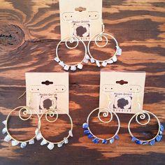 Semi precious stone chip earrings in bronze hoops by Maiden Oregon