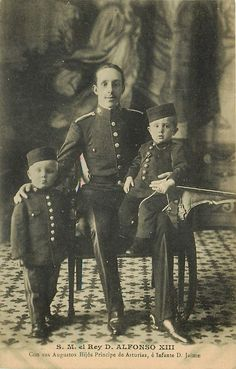 King of Spain, Alfonso XIII, with Infante Alfonso, Prince of Asturias and Infante Jaime of Spain.