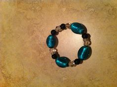 Turquoise & Black Murano Glass Beaded Bracelet
