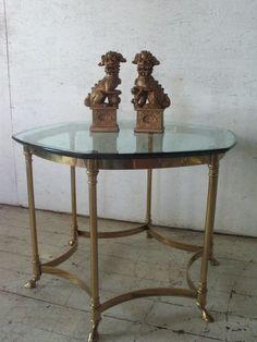 Vintage LaBarge Brass Glass Rams Hoof Coffee Table mid century modern , hollywood regency