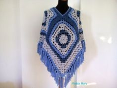 Crochet Boho Gypsy Granny Square Poncho, Crochet Poncho For Woman Bohemian Cloth. : Crochet Boho Gypsy Granny Square Poncho, Crochet Poncho For Woman Bohemian Clothing, Boho Hippie Clothes, Bohemian Style Boho Summer Top Crochet Boho Boho Gypsy, Hippie Boho, Bohemian Hair, Granny Square Poncho, Square Scarf, Granny Squares, Crochet Poncho, Crochet Granny, Gypsy Crochet