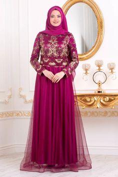 645383a6cc116 Tesettürlü Abiye Elbiseler - İşleme Detaylı Fuşya Tesettür Abiye Elbise  31750F ÜRÜN KODU : 31750F