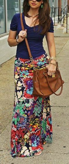 Floral + Maxi+bag confused in what to pin it for? in luv wid the look Warm Outfits, Modest Outfits, Modest Fashion, Spring Outfits, Casual Outfits, Cute Outfits, Long Skirt Outfits For Summer, Estilo Hippie, Mein Style