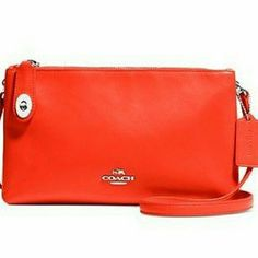Coach smith reddish coral leather crossbody Still available in website other colors. style 36552. New with tags.. adjustable strap. also adding additional pictures.. can trade with signature tote.. Coach Bags Crossbody Bags
