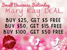 My MK special for Small Business Saturday! Text me (570)677-6679 or email nkerekes@marykay.com to take advantage of this awesome deal!