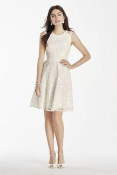 Short white lace dress at @DavidsBridal