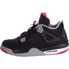 Pre-owned Nike Air Jordan 4 Retro Bred Sneakers ($345) ❤ liked on Polyvore featuring men's fashion, men's shoes, men's sneakers, red, mens sneakers, mens hi top sneakers, mens red tie, mens high tops and mens hi tops