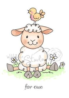 Discount Stamping card making papercrafting supplies & card ideas Lamb Drawing, Painting & Drawing, Sheep Drawing, Sheep Cartoon, Cute Cartoon, Animal Drawings, Cute Drawings, Easter Drawings, Sheep Illustration