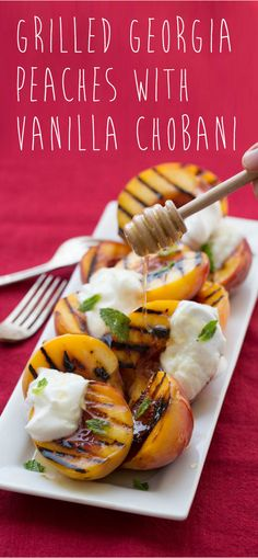 Whip up Grilled Peaches when you've got hungry football fans coming over! Throw halved, pitted peaches on the grill for 5 minutes and top with Plain Chobani Greek Yogurt, a drizzle of honey, mint and serve.