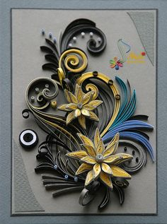 This card is completely handmade by Quilling technique. It is unique, designed and made ​​by me in a single copy and bond paper. Masking tapes are ...