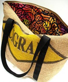 Zippered Tote Bag Colorful Batik Lining, Upcycled Burlap Coffee Sack Tote via Etsy
