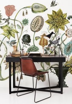 Over-scale botanical wallpaper creates a wall of art.