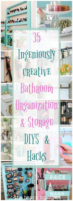Ingenious Ideas & DIYs for Bathroom Organization & Storage - The Happy Housie