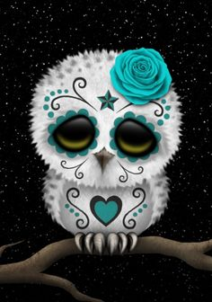 Adorable Teal Blue Day of the Dead Sugar Skull Owl Art Print