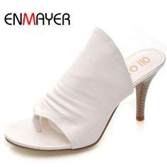 ENMAYER Summer Shoes Women New   Women Sandals Thin Heels Open Toe Flip Flops High Heeled Casual Ladies Slippers Size 34-43