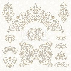 Vector set of ornament in Victorian style. Ornate elements for design and place for text. Ornamental lace pattern for wedding invitations and greeting cards. Traditional decor.