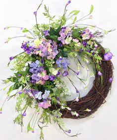 Spring Wreath, Summer Wreath, Pastel Wreath, Geranium Wreath, Wispy Wreath, Purple Wreath, Shabby Chic, Cottage Wreath
