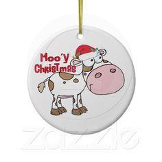 Mooy Christmas Cow Ornament