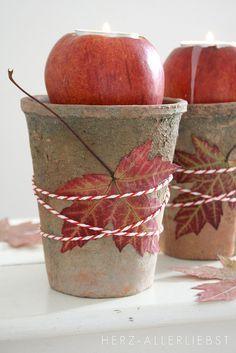 candles at each place setting (Put a tea light candle inside an apple). Deco Floral, Arte Floral, Fall Planters, Planter Pots, Fall Candles, Tea Candles, Tea Pot Set, Deco Table, Fall Diy