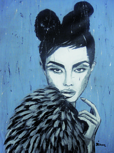 "PRINCESS / 140 x 95 cm / acrylic on canvas / 2011 (CD cover ""the princess"" for parov stelar) by Lilja Bloom"