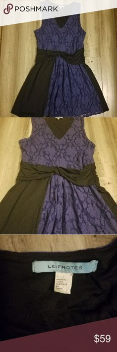 Anthropologie Leifnotes  Blue and Black Lace Large Anthropologie Leifnotes Antonio Melani Dress size large. Blue and black lace. Excellent condition.  Exclusively for Anthropologie!! Anthropologie Dresses Midi