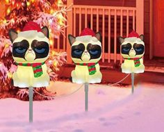 Worst Christmas Decorations Ever! Happy Merry Christmas, Christmas Love, Christmas Humor, Xmas, Crazy Cat Lady, Crazy Cats, Cat Light, Funny Christmas Sweaters, December Holidays